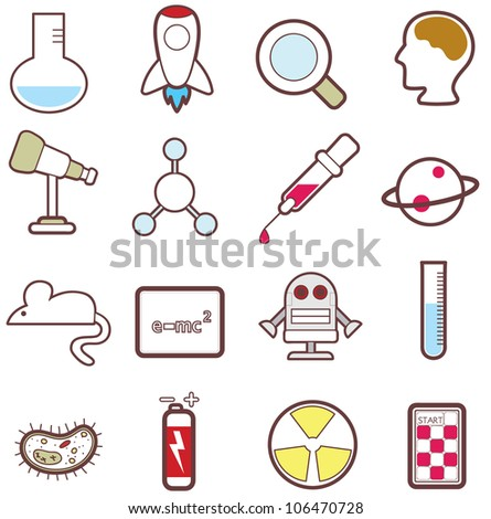 16 sets of cute science icons