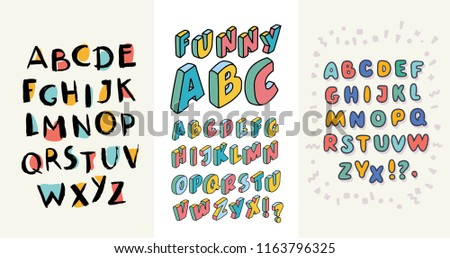 3 Sets of English hand drawn alphabets. ABC contains different handwritten capital latin letters. Stylish scripts and nice serifs for your design. Vector cartoon illustration in modern concept