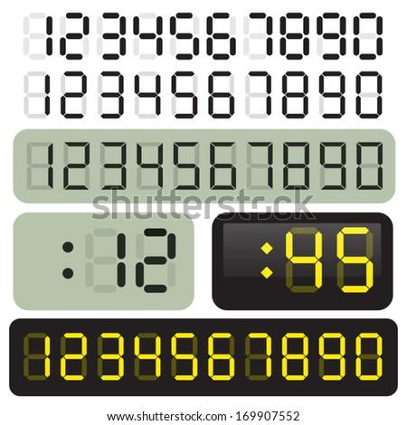 3 Sets of vector LCD clock digits. LED.