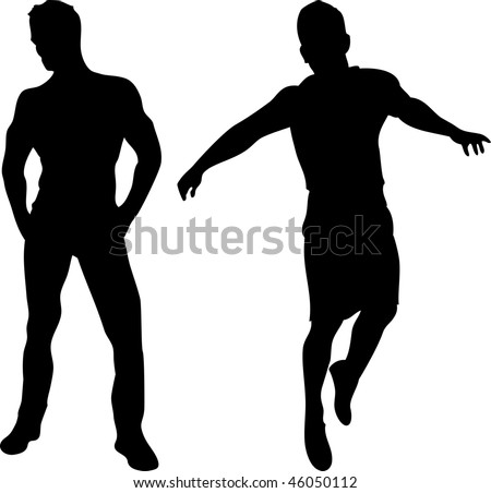 2 sexy men silhouettes on white background. Editable Vector Image