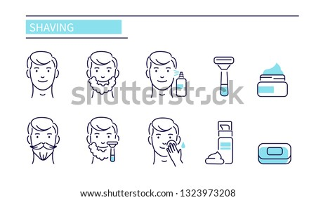 Shaving and man skin care icons. Line style vector illustration isolated on white background
