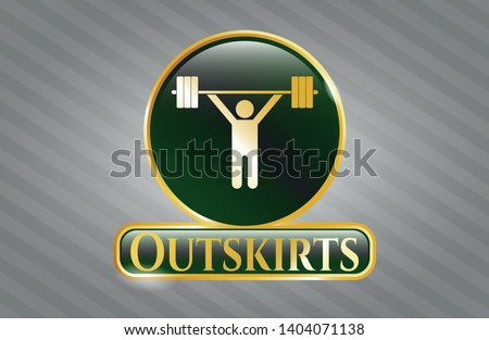 Shiny badge with weightlifting icon and Outskirts text inside