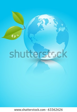 Shiny blue Earth planet with leaves