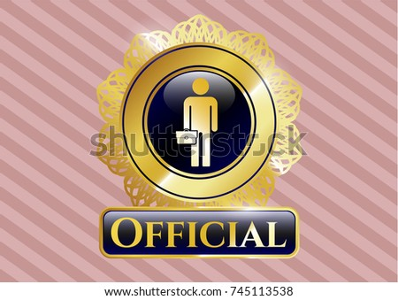 shiny emblem with businessman