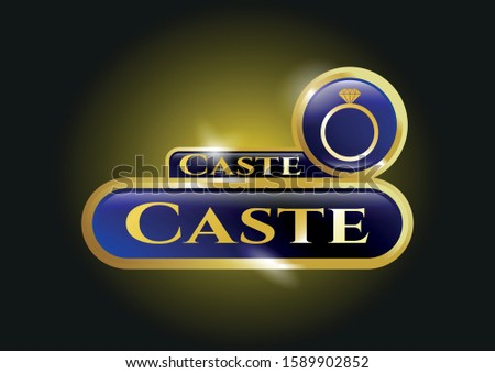 Shiny emblem with diamond ring icon and Caste text inside