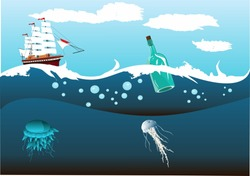 2Ship with white sails running in the ocean waves, underwater world, sea depth.
