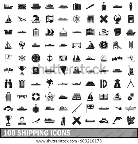100 shipping icons set in