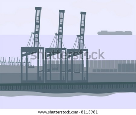 """Shipping Terminal"" is a highly detailed and hand drawn vector in AI-EPS8 format. - stock vector"