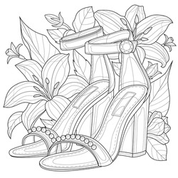 Shoes with flowers.Coloring book antistress for children and adults. Illustration isolated on white background.Zen-tangle style. Hand draw