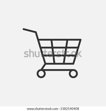 Shopping Cart Icon. Online Market Illustration As A Simple Vector Sign, Presented on Line Art Style & Trendy Symbol for Design,  Websites, Presentation or Mobile Application.