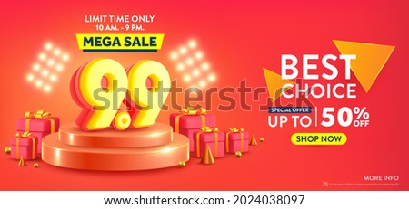 9.9 Shopping day banner with red gift box and podium scene. Sales banner template design for social media and website.