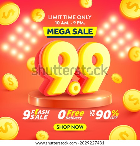 9.9 Shopping day Poster or banner with flying gold coins.Sales banner template design for social media and website.Special Offer Sale 90% Off campaign or promotion..Vector illustration eps 10
