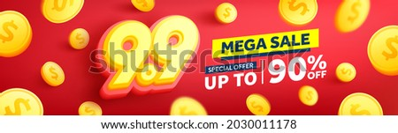 9.9 Shopping day Poster or banner with golden coins.Sales banner template design for social media and website.Special Offer Sale 90% Off campaign or promotion.