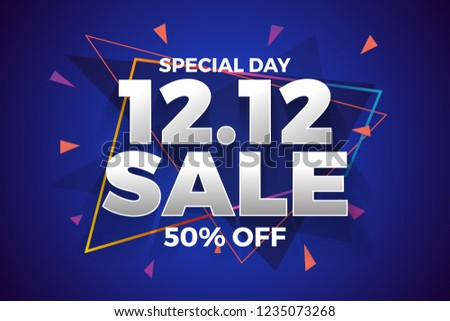 12.12 Shopping day sale banner background. 12 December sale poster template. Vector illustration