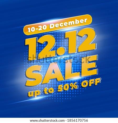 12.12 Shopping day sale banner background.  12 December sale poster template with Blue Colour, Promotion Mega Sale, Super Sale 12.  Vector illustration