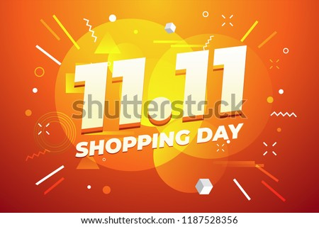 11.11 Shopping day sale poster or flyer design. Global shopping world day Sale on colorful background. 11.11 Crazy sales online.
