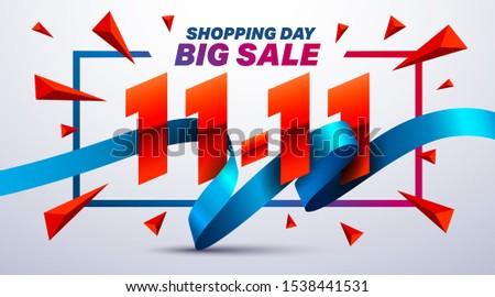 11.11 Shopping day sale poster or flyer design.Singles Day sale banner concep.Sale promotion advertising Brochures,Poster or Banner for November 11 shopping day.Vector illustration