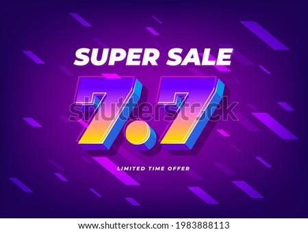 7.7 Shopping day sale poster or flyer design. 7.7 Super sale online banner. ストックフォト ©