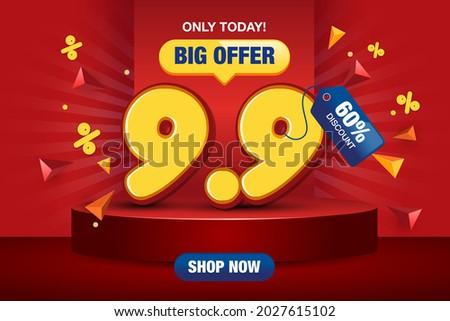 9.9 Shopping day sale poster or flyer design. 9.9 Super sale online banner. Eps 10 vector illustration.