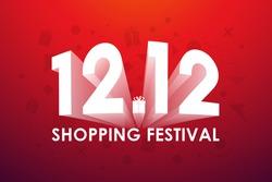 12.12 Shopping festival, Speech marketing banner design on red background. Vector illustration