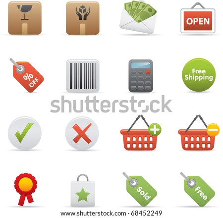 14 Shopping Icons Professional vector set for your website, application, or presentation. The graphics can easily be edited color individually and be scaled to any size
