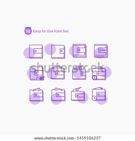Shopping mall, ecommerce - thin line and solid web icon set.modern icon set Outline icons collection. Simple vector illustration. - Vector, trolly, basket, tag of sale, pepper bag, wallet, purple.