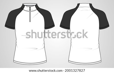 Short Sleeve Slim fit T-Shirt Overall Technical sketch mandarin Stand Up Collar and Zipper fashion Template front and back view. Apparel cad Drawing vector illustration. Easy Edit and customizable. Stockfoto ©
