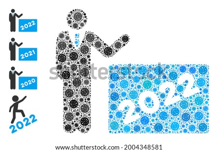 2022 showing man covid mosaic icon. 2022 showing man collage is created from random bacilla pictograms. Bonus pictograms are added. Flat style. Stock photo ©