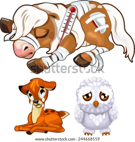 sick animals, horse, deer, owl