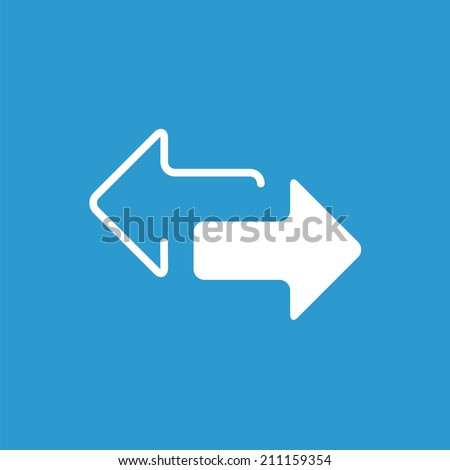 2 side arrow icon, isolated, white on the blue background. Exclusive Symbols