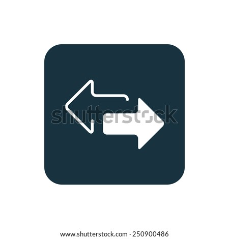 2 side arrow icon Rounded squares button, on white background
