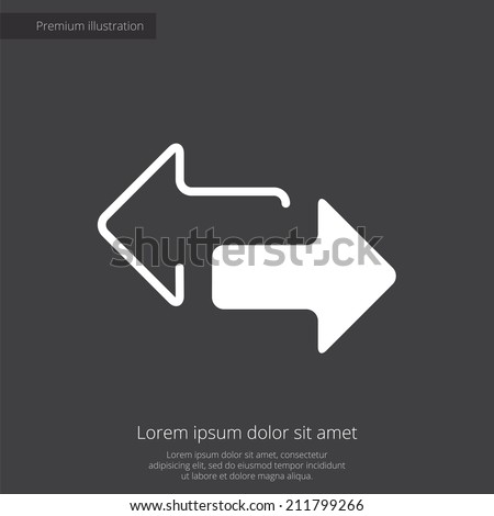 2 side arrow premium illustration icon, isolated, white on dark background, with text elements