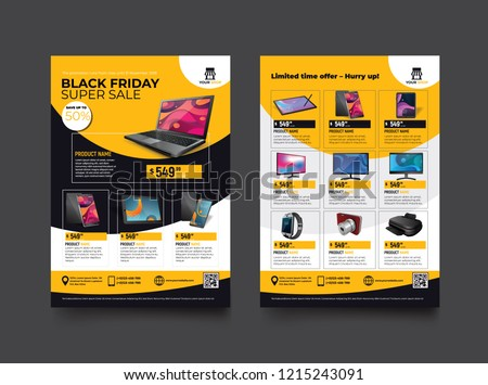 2 sides flyer template for Black Friday Sale Promotion with Sample Product Images, for A4 paper size with 3mm. bleeds area, CMYK Color, Free Font Used, EPS 10