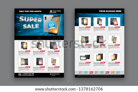 2 sides flyer template for Sale Promotion with Sample Product Images, for A4 paper size with 3mm. bleeds area, CMYK Color, Free Font Used, EPS 10