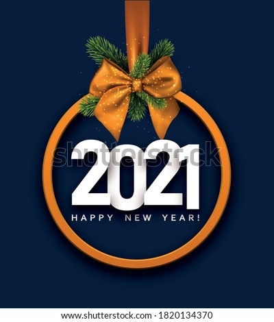 2021 sign inside orange christmas tree toy hanging on ribbon with bow and spruce braches. Happy new year sign. Blue background. Vector holiday illustration.