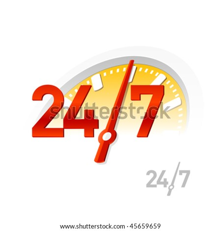 24/7 sign. Vector.