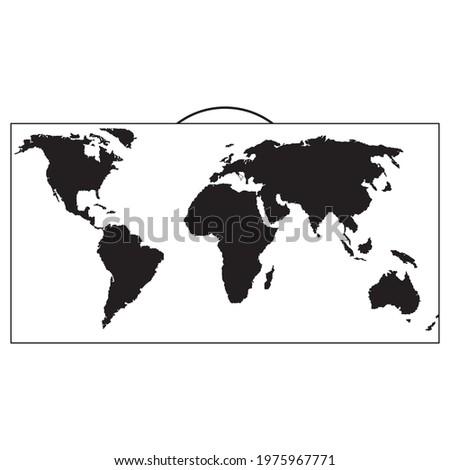 Карта мира силуэт черный. Silhouette black world map. Vector drawing. Сток-фото ©