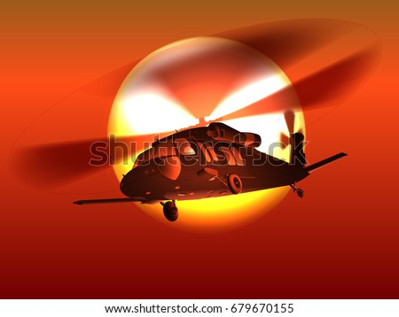 silhouette helicopter black