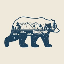 Silhouette of a bear, river, canoe, fish, forest, mountains and a lodge on the shore. Double exposure. Wildlife concept. Vector vintage illustration.