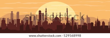 stock-vector--silhouette-of-a-mosque-buildings-silhouette-cityscape-with-mountains-modern-architecture-urban