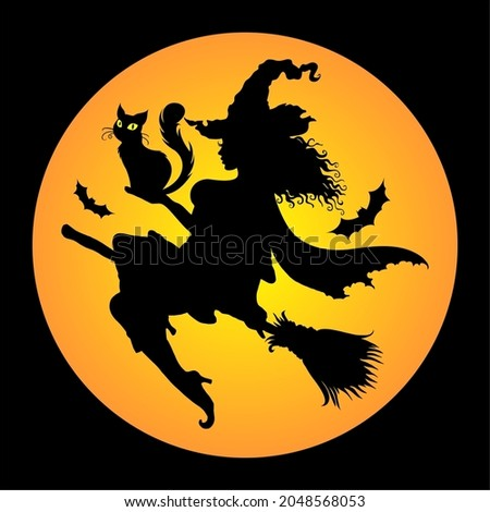А silhouette of a young graceful witch flying on a broom and holding a cat in her hands. Hand drawn Halloween vector illustration. Сток-фото ©