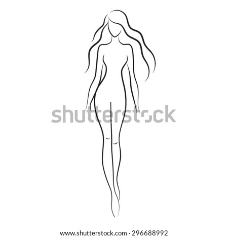 silhouette of beautiful nude