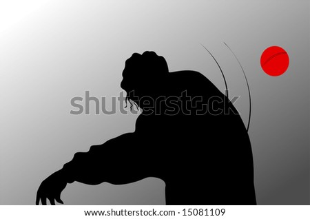 silhouette of cricket player