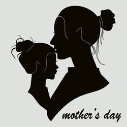 silhouette of daughters and mothers in a flat style. illustration of a girl and a mother in a flat style. Mother's Day. vector illustration.