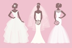 Silhouette of the brides in different dresses  set, vector illustration for greeting card, invitation, banner, flyer.