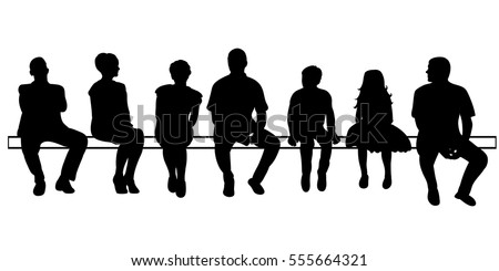 silhouette people sitting,vector, isolated,