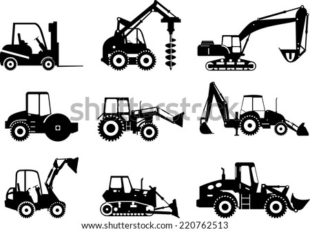 Silhouette set of heavy equipment and machinery