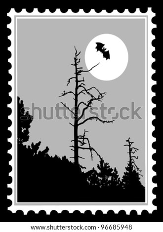 silhouette to bat on postage stamps, vector illustration