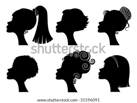 Silhouette women portraits heads faces - stock vector