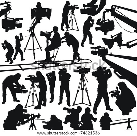 silhouettes of cameramen and